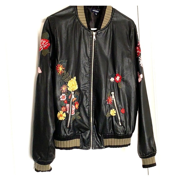 Max Edition Jackets & Blazers - Floral Faux Leather Jacket